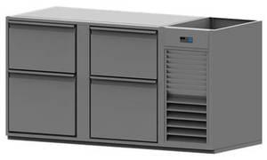 Kühltechnik: Einschiebekühlpult mit Flaschensumpf mit 4 Laden