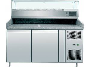 Pizzatechnik: Pizzakühltisch 2 Türen, mit Kühlaufsatzvitrine