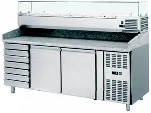 Pizzatechnik: Pizzakühltisch 2 Türen, 7 Schubladen, Kühlaufsatzvitrine