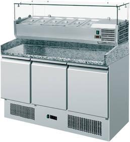 Pizzatechnik: Pizzakühltisch mit Kühlaufsatzvitrine, 3 Türen