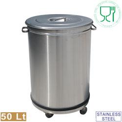 Edelstahlmöbel: Abfallbehälter mit Deckel auf Rollen - 50 Liter