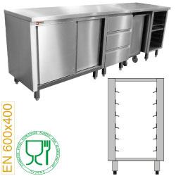Edelstahlmöbel: Modul für Bäckereimöbel, 6 Niveaus Bleche 600x400