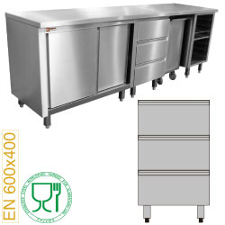 Edelstahlmöbel: Bäckereimodul, Block mit 3 Schubladen 600x400